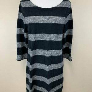 J Crew Black Gray Stripe Maritime Shift Dress